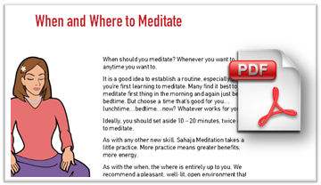 download handout on where and when to meditate - beginner's sahaja meditation