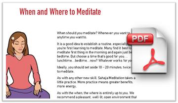 download handout on where and when to meditate - beginner's sahaja meditation